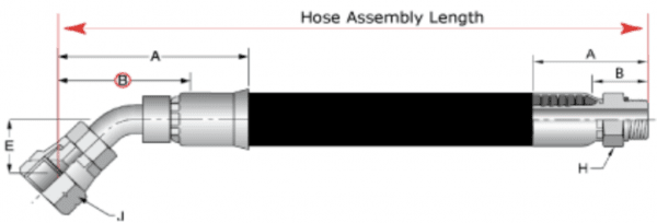 Measuring Hydraulic Hoses Three Things To Know Measuring Length 45 Degree